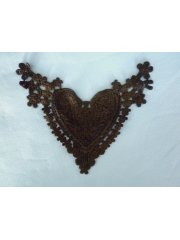 Cotton Crochet Heart Embellishment- Brown EM145 BR