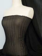 Chiffon Sheer Pleated Stretch Material- Black CHF180 BK