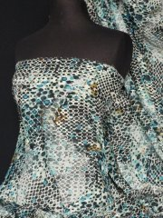 Chiffon Soft Touch Sheer Fabric- Turquoise Multi Spot Q1000 TQSMLT