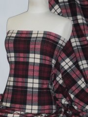 Liverpool Check Stretch Knitwear Fabric- Red/Black Tartan Q1309 RDBK