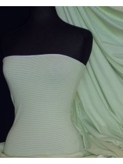 Cotton Lycra Jersey 4 Way Stretch Fabric - Mint/White Horizontal Pinstripe Q1356 MNTWH