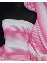100% Cotton Interlock Knit Soft Jersey T-Shirt Fabric- Pink/ White Horizontal Stripe Q1358 PNWH