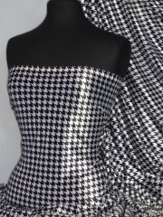 Velvet Spandex Fabric Luxuriously Soft Velvet Material- Black/White Dogtooth PVEL25 BKWHT