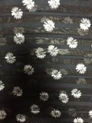 Chiffon Soft Touch Sheer Stripe Fabric - Ditsy Daisies CHF231 BKIV