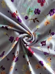 Viscose Cotton Stretch Lycra Fabric- Lilac Spring Flowers VSC253 LLC
