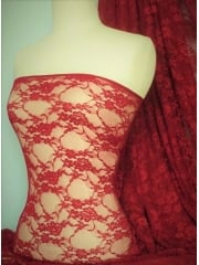 Flower Stretch Lace Fabric- Tomato Red Q137 TMRD