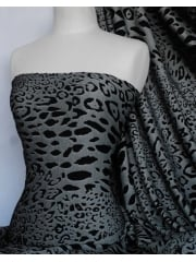 Double Knit Heavy 4 Way Stretch Jersey Fabric- Black/Grey Animal Q1132 BKGR
