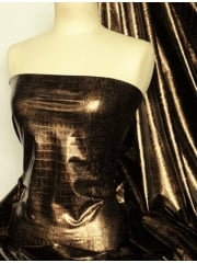 Embossed Stretch Lycra Fabric- Python Skin Black/Brown Q1158 BKBRN