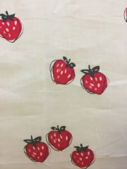 100% Cotton Non-Stretch Material- Strawberries White/Red SQ163 WHRD