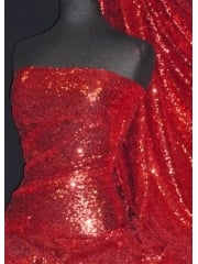 Showtime Fabric All Over Stitched 3mm Sequins - Festive Red SEQ53 FRD
