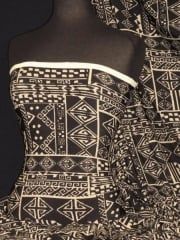 Knitwear Stretch Fabric- Black/Stone Abstract Q1311 BKSTN