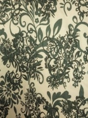 Viscose Cotton 4 Way Stretch Victorian Design Fabric- Ivory/Sage Green Q1077 SGRNIV