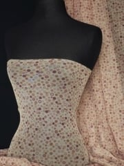 Power Mesh/ Net 4 Way Stretch- Brown Polka Dots Q1066 BRN