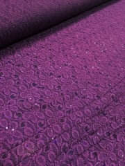 20 METRES Lace Hologram Sequins Stretch Material Wholesale Roll- Purple JBL2 PPL