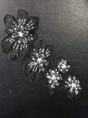 Net Beaded Flower Appliqué- Black EM128 BK