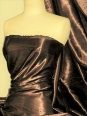 Satin Crushed Creased Look Fabric- Brown STN67 BRN