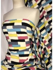 Smooth Touch Woven Blouse/Dress Fabric- 90's Abstract Yellow/Multi SMT36 YLMLT