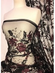 Sequins Silver Embroidered Sheer Net Fabric Material- Black/Claret Roses SQ320 CLTSLV