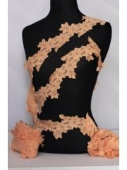 Flower Trail Lace Stretch Trimming- Peach SY59 PCH