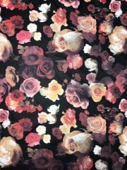 Scuba 4 Way Stretch Poly Lycra Fabric- Ravishing Roses SQ166 BKMLT