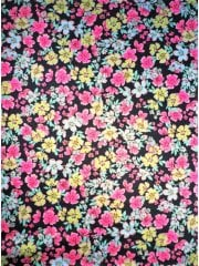20 METRES Poly Viscose Light Weight Sheer Fabric Wholesale Roll- Pink/Yellow Ditsy Floral JBL304 PNY