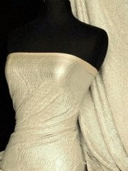 Bodré Crinkle Metallic Foil Stretch Fabric- Stone/Silver Q827 STNSLV