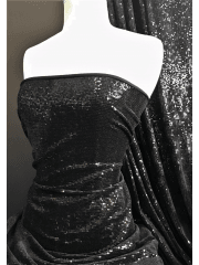 Showtime Dress/Dance Velvet Stretch Fabric- Celesté Sparkle SEQ81 BK