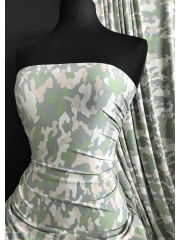 Viscose Elastine Stretch Fabric- Grey/Green Camo SQ386 GRN