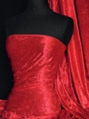 Crushed Velvet/Velour Stretch Material- Tomato Red Q156 TRD