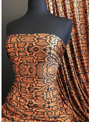 Printed Silk Touch 4 Way Stretch Fabric- Orange/Black Reptile SQ380 ORBK