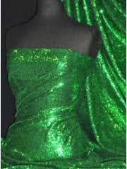 Showtime Fabric All Over Stitched 3mm Sequins- Leaf Green SEQ53 LFGR