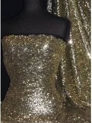 Showtime Fabric All Over Stitched 3mm Sequins - Gold On Black SEQ53 GDBK