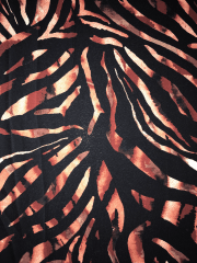 Georgette Crepe Sheer Fabric- Black/Rust Animal Print SQ395 BKRST