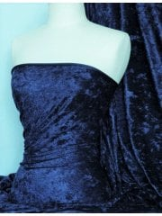 Crushed Velvet/Velour 4 Way Stretch Fabric- Ink Navy SQ404 INK