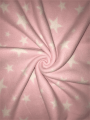 Polar Fleece Anti Pill Washable Soft Fabric- Baby Pink Twinkle Stars SQ351 BPN