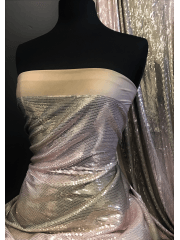 Showtime Sequins All Over Stitched Fully Lined Lycra Fabric- Tea Rose Ombre SQ417 TRS