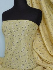 Cotton Poplin Ditsy Floral Non-Stretch Material- Clair Yellow Q625 YL