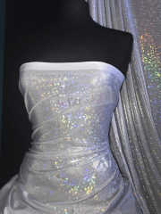 Hologram Rainbow Foil Stretch Spandex - Shattered Glass White HMLYC72 WHTSLV