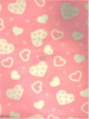 Polar Fleece Anti Pill Washable Soft Fabric- Pink Polka Hearts SQ427 PNWHT