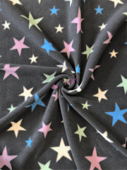 Polar Fleece Anti Pill Washable Soft Fabric- Grey/Multi Twinkle Stars SQ351 GRMLT