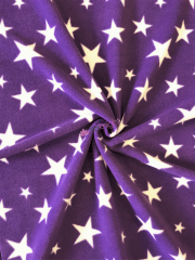 Polar Fleece Anti Pill Washable Soft Fabric- Purple Twinkle Stars SQ351 PPLWHT