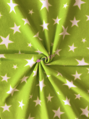 Polar Fleece Anti Pill Washable Soft Fabric- Lime Green Twinkle Stars SQ351 LMWHT