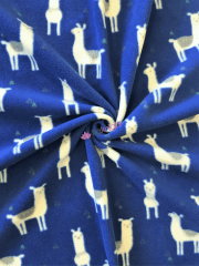 Polar Fleece Anti Pill Washable Soft Fabric- Llama Glama Royal Blue SQ352 RBL