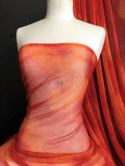 Tie-Dye Fishnet 4 Way Stretch Material- Fire Orange Q713 RDOR