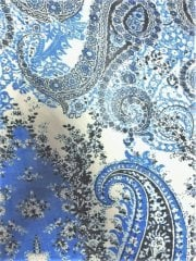 Chiffon Soft Touch Sheer Fabric - Sky Blue Paisleys CHF236 SKBL