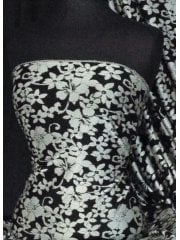 Ponte Double Knit Jacquard 4 Way Stretch Jersey- Black/Silver Flower Print Q1288 BKSLV