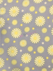Polar Fleece Anti Pill Washable Soft Fabric- Daisies Powder Blue/Yellow SQ447 PBLYL