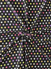 Polar Fleece Anti Pill Washable Soft Fabric- Black/Multi Polka Dots Q863B BKMLT