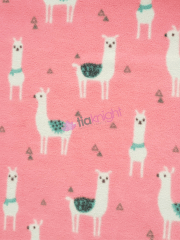 Polar Fleece Anti Pill Washable Soft Fabric- Llama Glama Pink SQ352 PN