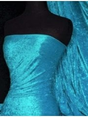 Crushed Velvet/Velour Stretch Material- Light Turquoise Q156 LTQ
